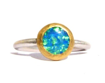 Opal Ring - Solid 24k Yellow Gold & Silver Ring - Stackable ring - Blue Opal Ring - Opal 24k Gold Ring - Engagement Ring - MADE TO ORDER
