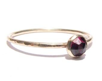 SALE! : Garnet & 14k Solid Gold Ring - Rose Cut Garnet Ring - Stacking Ring -Thin Gold Ring -Gemstone Ring -Engagement Ring -Ready To Ship!.