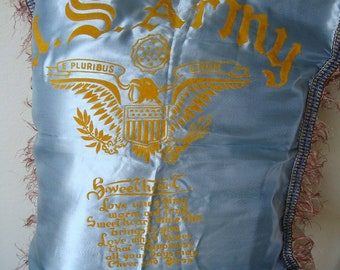 Vintage Satin 1940s US Army  Sweetheart Pillowcase Cover an Poem