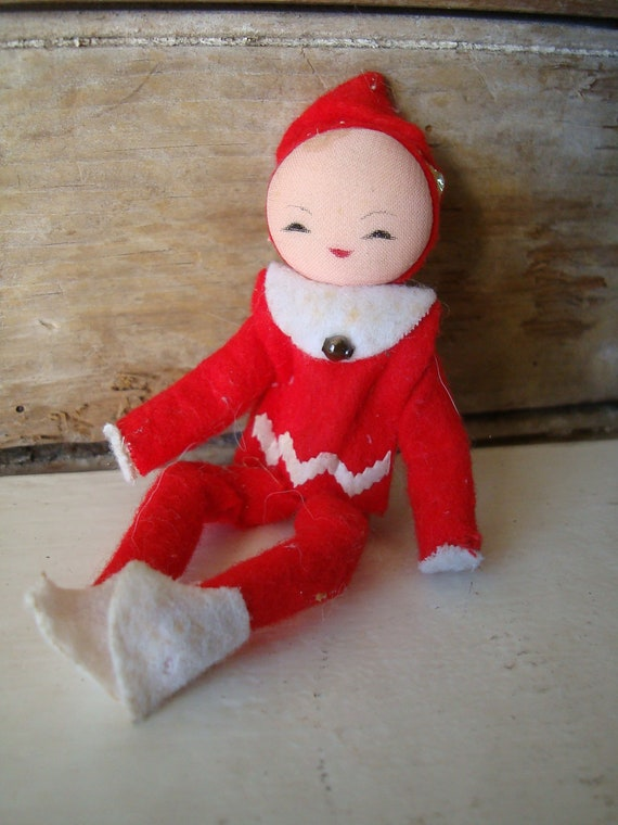 Vintage Felted And Red  Bendable little Elf Pixie Girl Ornament 1960s  Japan
