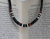 Vintage Shell, Brass, Wood, Black Beaded Necklace 16 inches