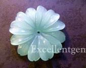 Hand-carver Amazonite quartz flower - 30mm
