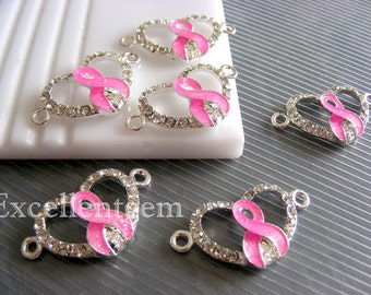 4-10 Pink Ribbon connector, Rhinestone Silver plated with high quality clear Cyrstal Rhinestones connector