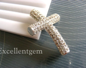 Rhinestone, Cross, sideway cross, 5 pcs High quality, Silver Plated with crystal rhinestone Bracelet Connector in Round tube - 27mm x 38mm