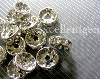 100pcs -- silver tone High quality with clear Crystal Rhinestone Brass spacer Wheel Rondelles-8mm- for basketball earring spacers