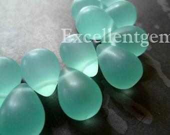 Matt, Mist lake green glass quartz teardrops-11x9mm- Full strand, 23p