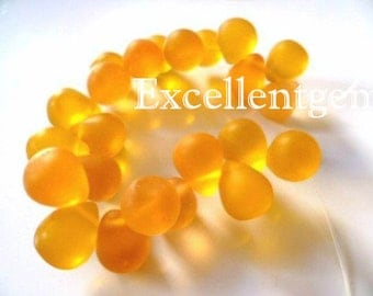 Full strand quartz teardrop in Mist yellow color-11 x 9mm- 23pcs