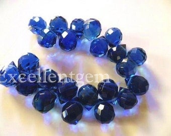 Full strand Hand carved faceted teardrop in sapphire blue-12x9mm-T-D-120