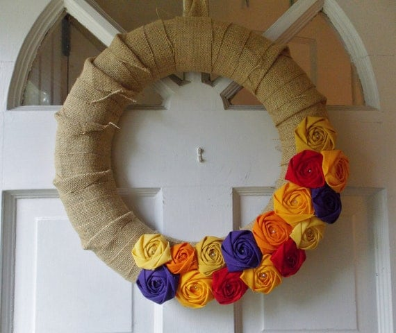 Thanksgiving Decor Burlap Fall Autumn Wreath Home Decor Rosette Wreath Handmade Fabric Flowers Plum Pumpkin Apple Red Mustard Yellow