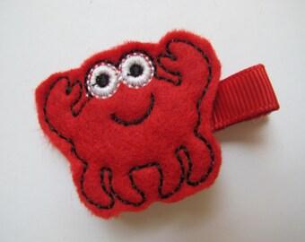 Red Felt Crab  Hair Clip--Crab Clip--Girls Felt Clips--Toddler Girls--Piggy Tail Clips