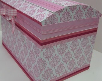 Nursery Storage Chest / Pink and white Damask or to Match your nursery decor