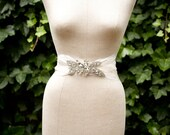 Rhinestone and Feather Bridal Belt.  The Viola - Made To Order.