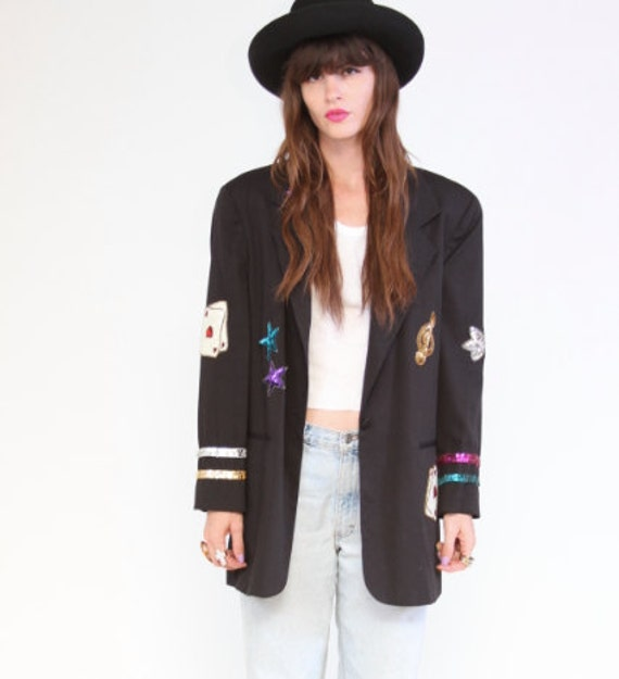 90s Black Blazer with Sequins and patches
