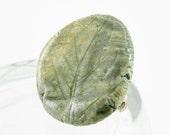 brooch blue olive green glazed porcelain ceramic organic nature modern fern print  fall autumn free shipping