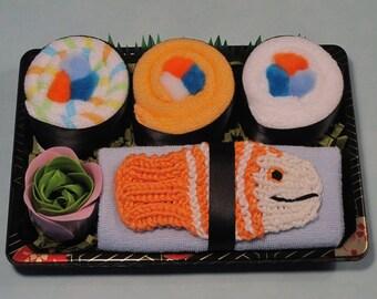 New Baby Washcloth Sushi Gift - Baby Boy - Orange Fish