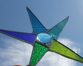 Peacock Star - 8 inch stained glass star in lime green, aqua, turquoise, grass green, royal blue