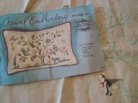 Vintage crewel embroidery pillow kit by elsa williams