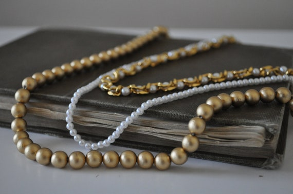 Three Vintage Antique Gold Bead, Gold Chain, and Pearl Necklaces