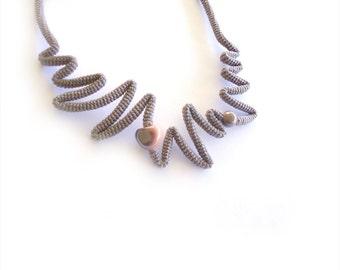 Crochet Necklace Cappuccino Peach