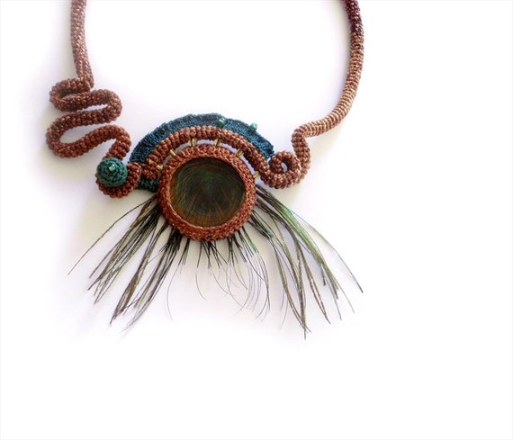 Exotic Necklace, Peacock Feather Necklace, Unique Crochet Design Necklace, Whimsical Jewelry