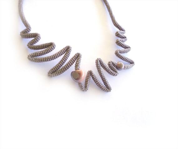 Crochet Necklace Cappuccino Peach, Crochet Jewelry