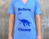 Believe Champ V-Neck, Men's American Apparel Heather Blue Tri-Blend T-shirt Tee