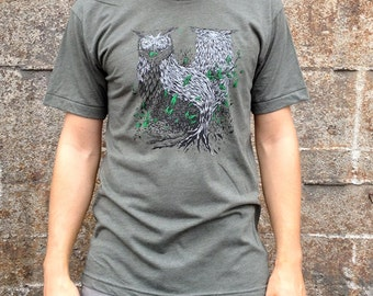 Two Owls T-shirt, Men's American Apparel Heather Green Tee