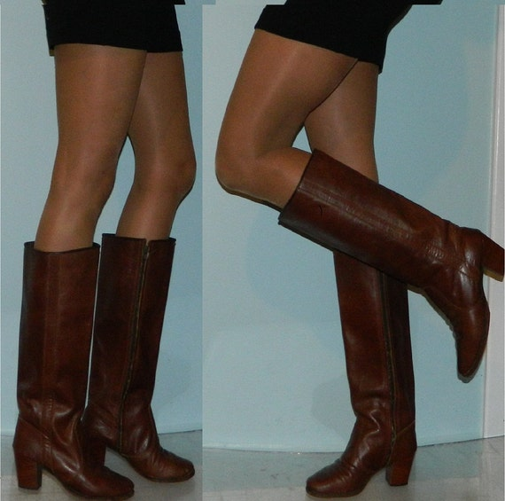 vintage 70s 80s zip up custom made brown leather boots size 8.5