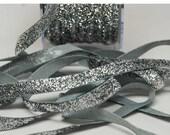 Velvet Metallic Trim -- 3/8 inch -- Silver Sparkle -- Silver Glitter Nylon Ribbon