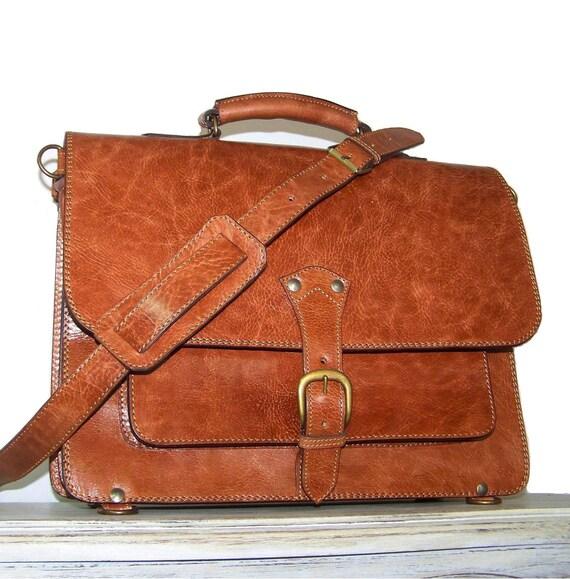 """15"""" Caramel Leather Laptop Bag, Messenger , Backpack, Briefcase, Raphael"""