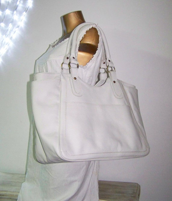 Off White Large Leather Tote / Handbag / Bag / Julia XL // SALE