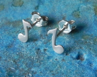 Really tiny music note stud earrings in sterling silver