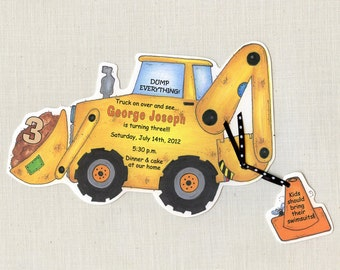 10 Under Construction - Boy - Birthday - Invitations - Party - Personalized -Zone - Backhoe - Printed - Digger - Trucks - Artfully Invite