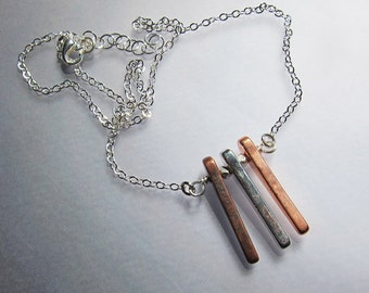 Triple spike dagger necklace Mixed metal boho pendant Bohemian copper jewelry Silver layering necklace