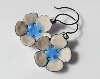 Enamel dangle earrings Blue flower earrings Beige drop earrings Enamel bohemian jewelry