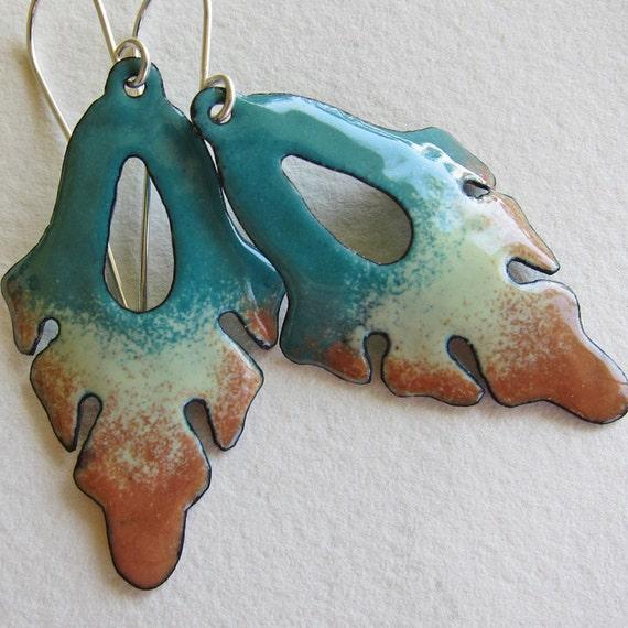 Enamel leaf earrings, art nouveau jewelry, turquoise brown autumn bohemian