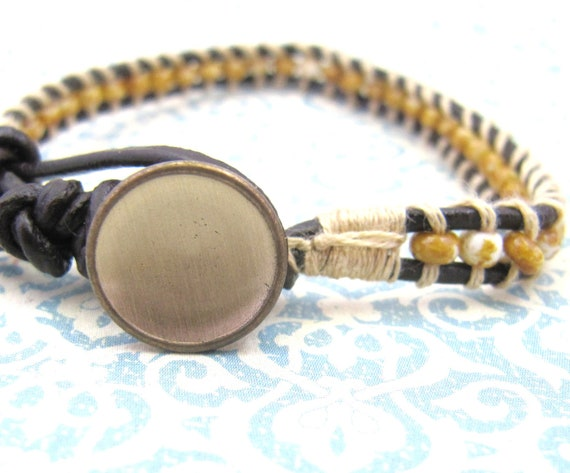 Czech Picasso Old Gold Brown Gold Button Brown Leather Wrap Bracelet, Single Wrap Bracelet
