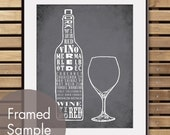 Red Wine and Glass - Art Print (Featured in Charcoal) (Top Shelf Alcohol Series) Buy 3 Get One Free
