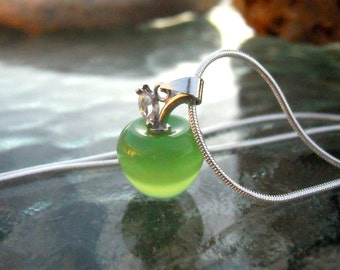 SALE - 3 Green Apples for the Teacher Pendants or charms in Sterling Silver and Cats Eye - FAST SHIPPING