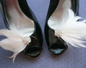 Bridal, feather, shoe, clips, Wedding, Accessory, Pink, Ivory, off, white, blush, antique, brides, feathered - PINK & WHITE Shoe Clips