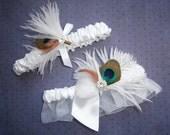 Peacock Garter Bridal Set, Peacock, feather, white, garter set, brown - WHITE & PEACOCK Garter