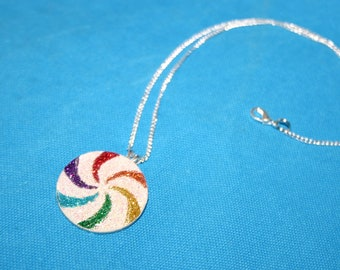 Glitter Swirl Pendant Handmade Necklace with resin and super sparkly glitter