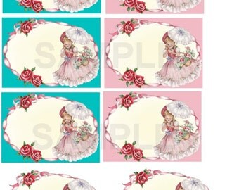 Vintage  Pink Flower Girl ACEO Tags set 1  Digital, Printable, download, DIY,