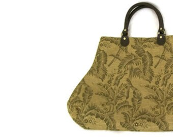 Olive Green Gold Jacquard Fabric Handbag Purse