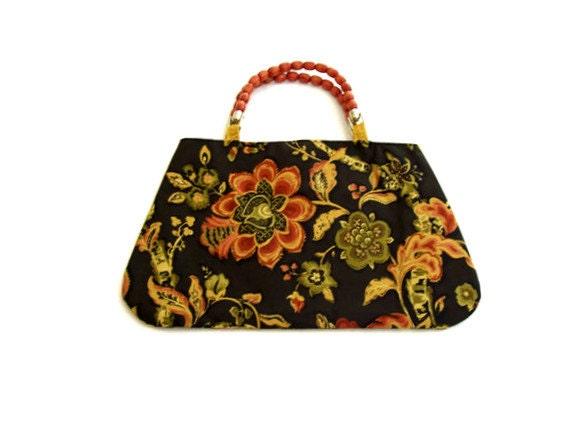 Black Coral and Olive Green Floral Print Purse Handbag