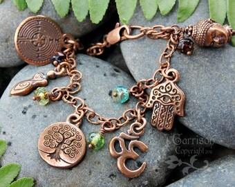 Ancient religions coexist antiqued copper charm bracelet - chakra colors - Buddha, Tree of Life, Hamsa Hand, Ankh, Goddess, Om charms