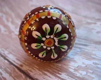 2 Hand Painted Wood Knobs Cranberry Floral Design Gold Red Green and White