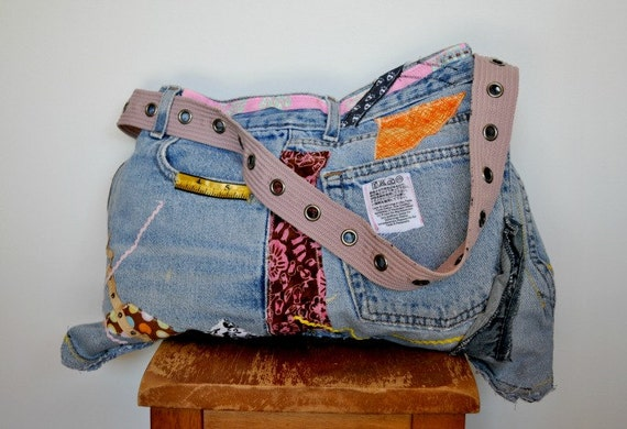 Recycled denim messenger bag, Sale priced, appliqued, ribbon, vintage labels, sized for Mac Book, upcycled belt strap, OOAK