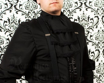 Victorian jabot for men, three-tiered black cotton with lace