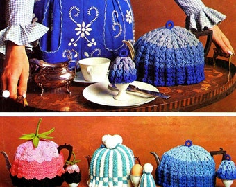 Three Vintage Tea Cozy with Matching Egg Cozy Pattern Knitting Crochet PDF Download